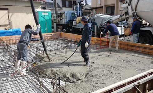 加古川の家Ⅱ基礎底盤打設